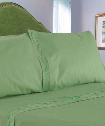 Sage Chain Link Embroidered Sheet Set