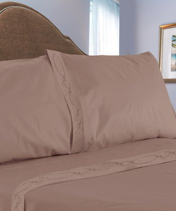 Taupe Chain Link Embroidered Sheet Set