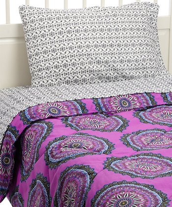 Rampage Pinkberry Medallion Twin Comforter Set