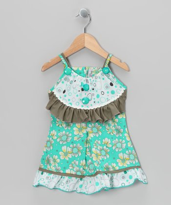 Aqua & Olive Floral Dress - Girls