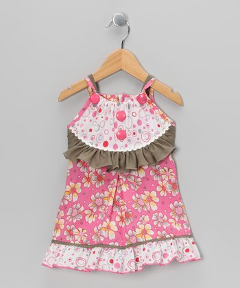 Pink & Olive Floral Dress - Toddler & Girls