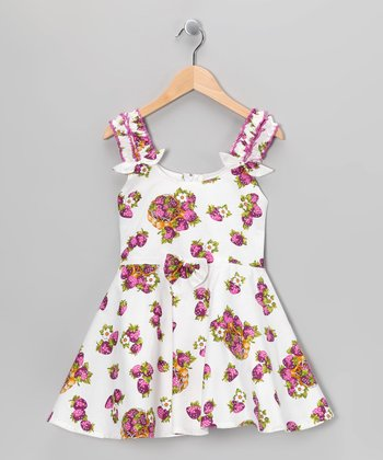 White & Purple Strawberry Ruffle Dress - Girls