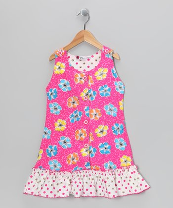Bright Pink Polka Dot Ruffle Jumper - Toddler & Girls