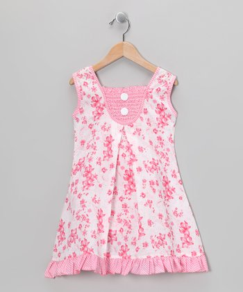 Pink Shirred Floral Dress - Girls