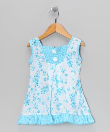 Blue Shirred Floral Dress - Toddler & Girls