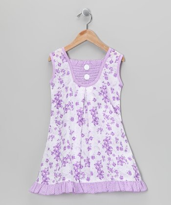 Lilac Shirred Floral Dress - Toddler & Girls