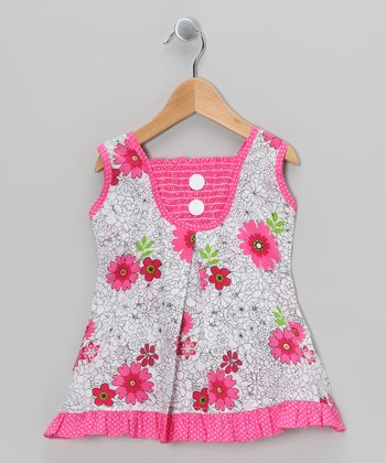 Fuchsia Floral Polka Dot Shirred Dress - Toddler & Girls