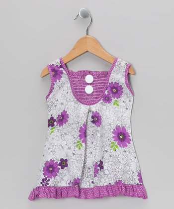 Purple Floral Polka Dot Shirred Dress - Toddler & Girls