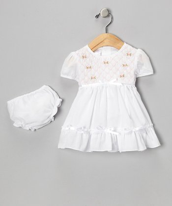 White Rose Smocked Dress & Diaper Cover - Infant