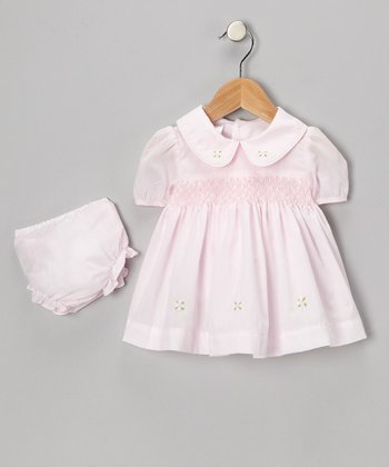 Pink Smocked Collar Dress & Diaper Cover - Infant
