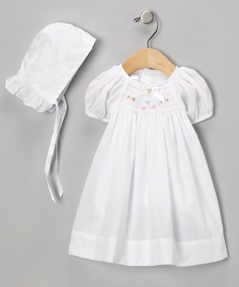 White Flower Smocked Dress & Bonnet