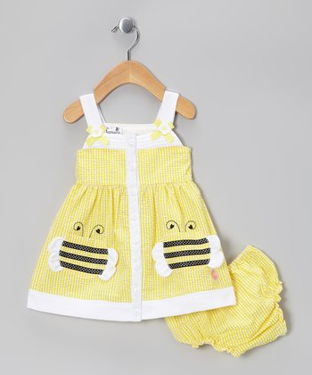 Yellow Bee Pocket Dress - Girls