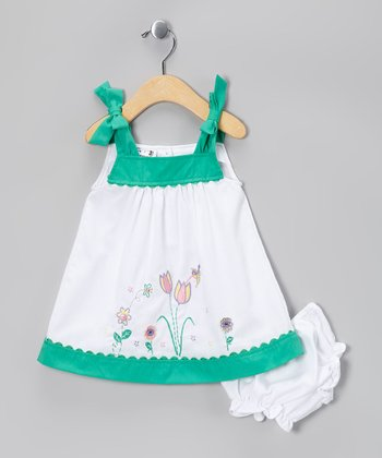 White & Green Tulip Dress - Infant & Toddler