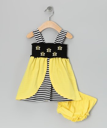 Yellow Stripe Honeybee Dress - Infant