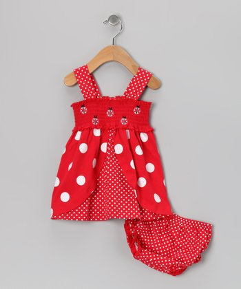 Red Polka Dot Ladybug Dress & Diaper Cover - Infant