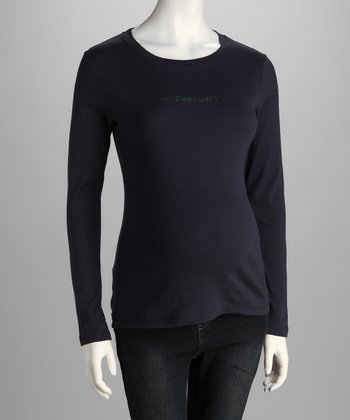 Navy 'Due In' Maternity Long-Sleeve Tee
