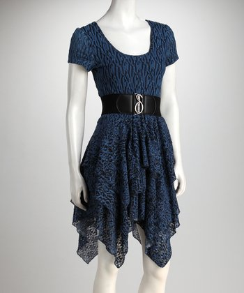 Indigo & Black Handkerchief Dress