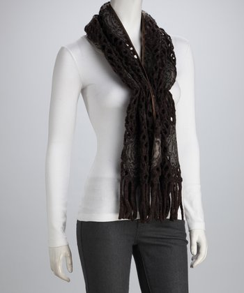 Brown Rose Perforated Wool-Blend Scarf