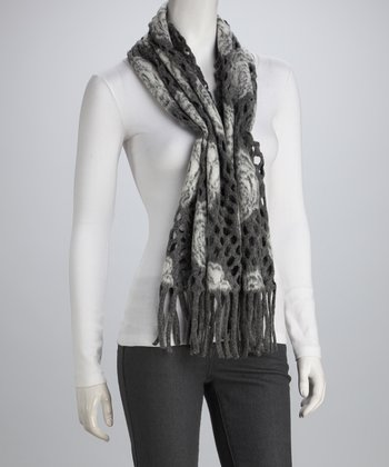 Gray Rose Perforated Wool-Blend Scarf