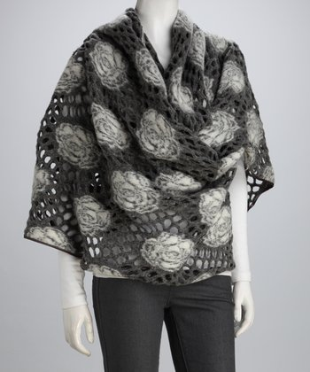 Gray Rose Asymmetrical Wool-Blend Wrap