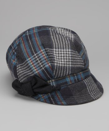 Navy Plaid Bow Wool-Blend Newsboy Cap
