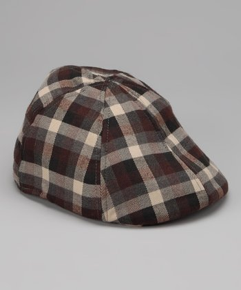 Brown Plaid Newsboy Cap