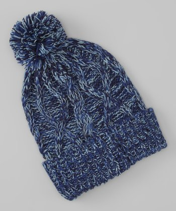 Blue Marbled Knit Beanie