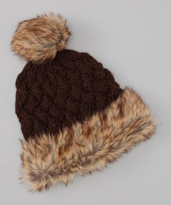 Chocolate Faux Fur Pom-Pom Beanie