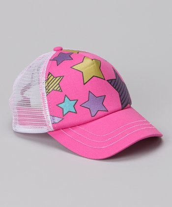 Pink & White Star Trucker Hat