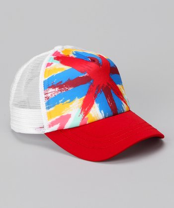 White & Red Paint Splash Trucker Hat