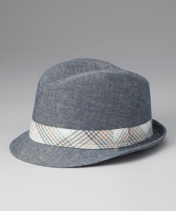 Blue Gingham Fedora