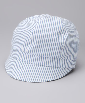 Blue Pinstripe Reversible Newsboy Hat