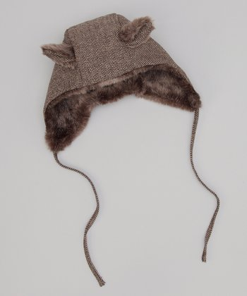 Brown Herringbone Animal Trapper Hat
