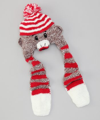 Red Stripe Sock Monkey Earflap Beanie