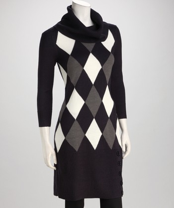 Dark Midnight & Ivory Argyle Cowl Neck Sweater Dress