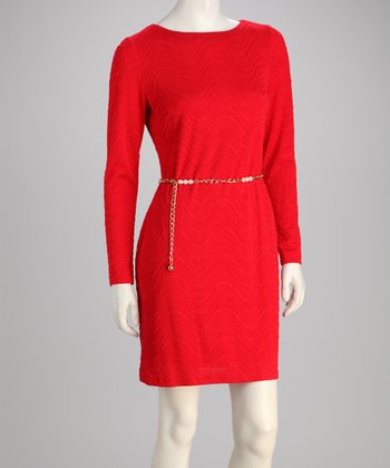 Red Chain Belted Dress