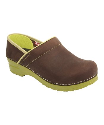 Brown & Lime Original Clog - Women
