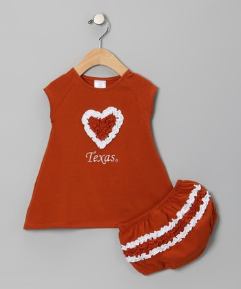 Burnt Orange & White Texas Heart Dress & Diaper Cover - Infant