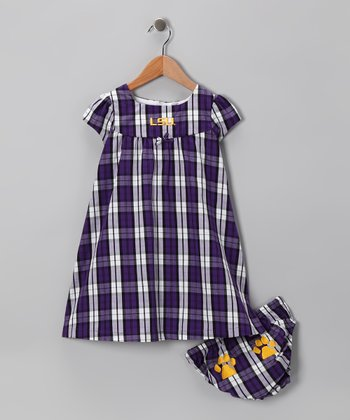 Purple LSU Plaid Dress & Diaper Cover - Toddler