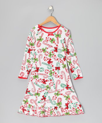 White Candy Cane Nightgown - Toddler & Girls
