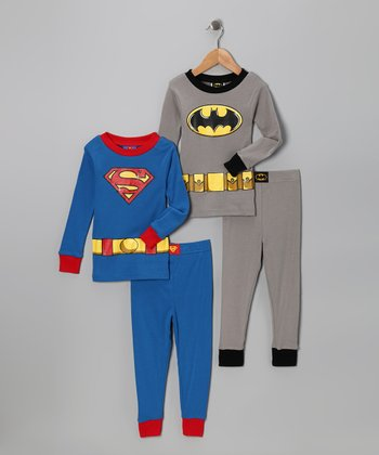 Gray Batman & Superman Long-Sleeve Pajama Set - Boys