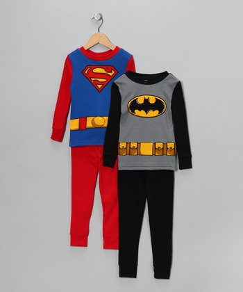 Black Batman & Superman Long-Sleeve Pajama Set - Boys