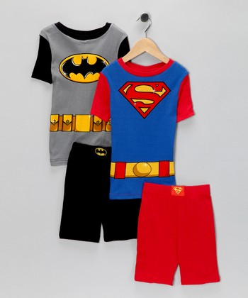 Black Batman & Superman Pajama Set - Boys