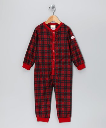 Red Plaid Dr. Denton Playsuit - Toddler & Boys