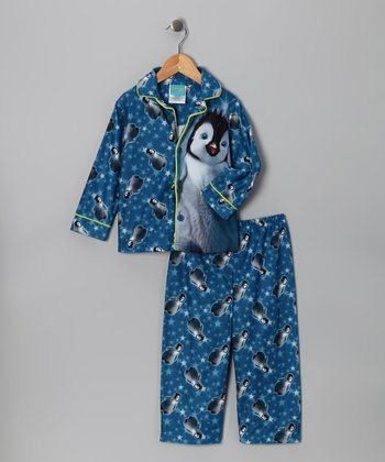 Blue & Green Happy Feet Pajama Set - Toddler