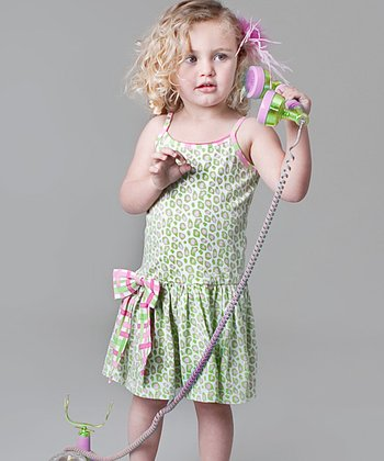 Green Leopard Bow Dress - Infant, Toddler & Girls