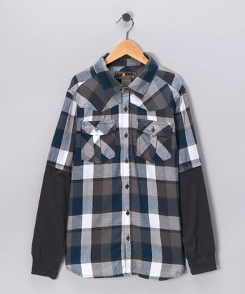 Blue Buffalo Plaid Layered Button-Up