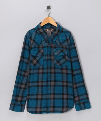 Blue Western Flannel Button-Up