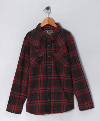 Red Western Flannel Button-Up