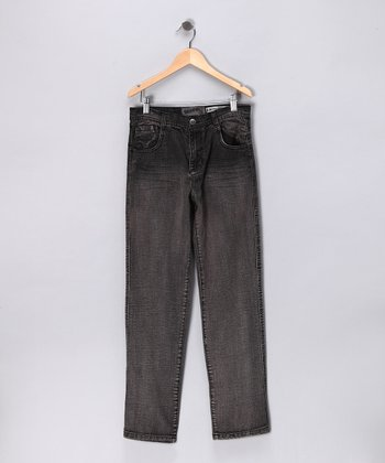 Black Denim Straight-Leg Jeans